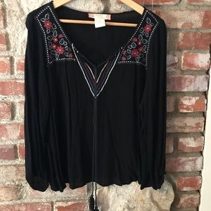 Flying Tomato Embroidered Peasant Top